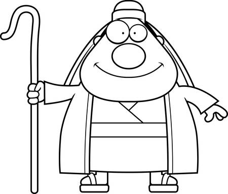 A cartoon illustration of a shepherd looking happy. Stok Fotoğraf - 44503521