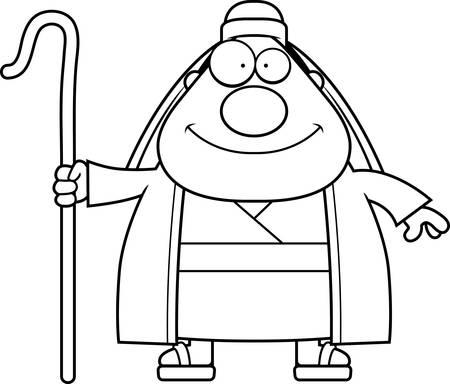 crook: A cartoon illustration of a shepherd looking happy. Illustration
