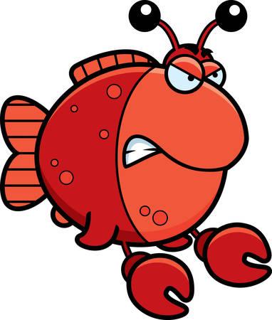 화가 식을 게처럼 옷을 입고 물고기의 만화 그림.