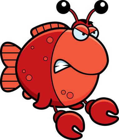 A cartoon illustration of a fish dressed as a crab with an angry expression.