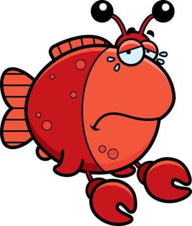 Een cartoon illustratie van een vis gekleed als een krab verdrietig en huilen.