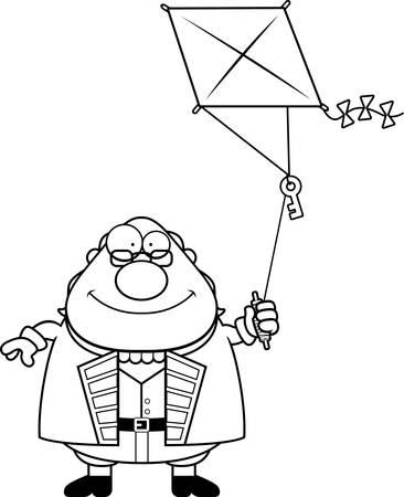 A cartoon illustration of Ben Franklin flying a kite.