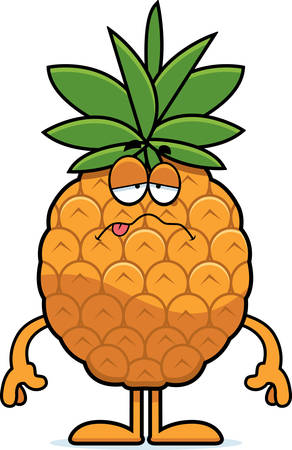 A cartoon illustration of a pineapple looking sick.