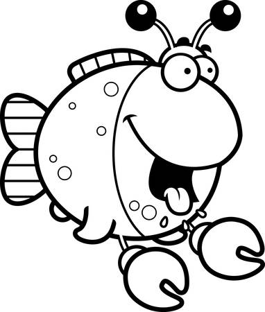 A cartoon illustration of a fish dressed as a crab looking hungry.