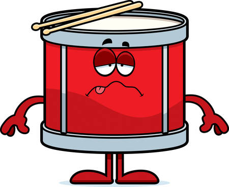 nauseous: A cartoon illustration of a drum looking sick.