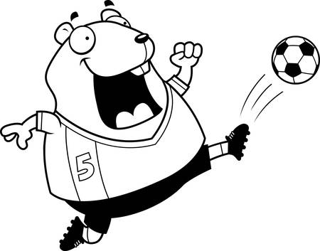 A cartoon illustration of a hamster kicking a soccer ball. Illustration