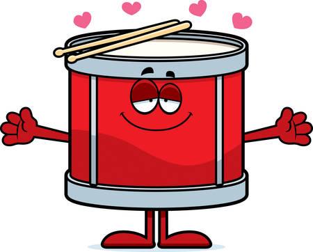 ドラムの抱擁を与えるために準備の漫画イラスト。