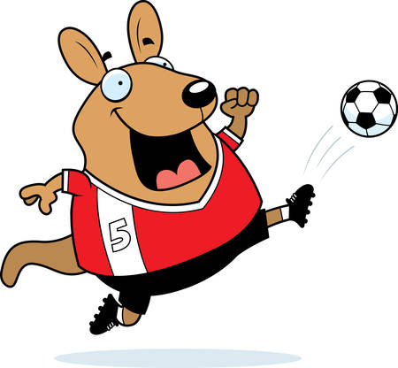 A cartoon illustration of a wallaby kicking a soccer ball. Illustration