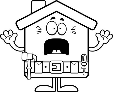 home improvement: A cartoon illustration of a home improvement house looking scared.