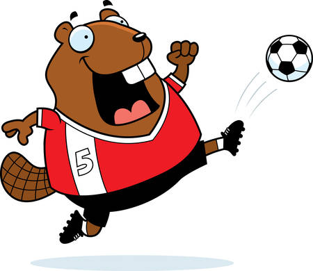 A cartoon illustration of a beaver kicking a soccer ball. Illustration