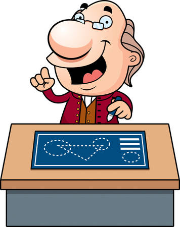 An illustration of a cartoon Ben Franklin with a desk and blueprints. Illustration