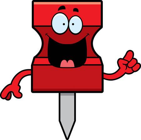 A cartoon illustration of a pushpin with an idea.