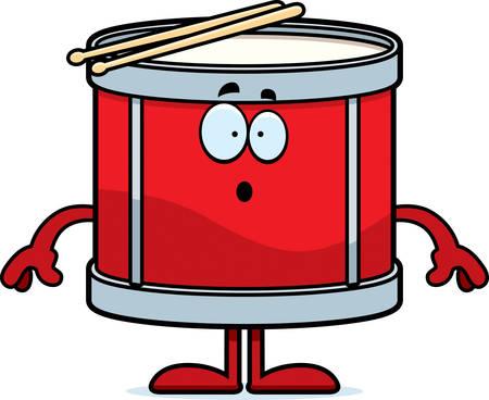 astonish: A cartoon illustration of a drum looking surprised. Illustration