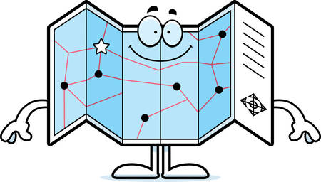 A cartoon illustration of a road map looking happy. Ilustração
