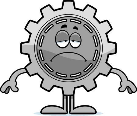 A cartoon illustration of a gear looking sad.