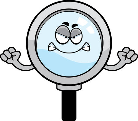 A cartoon illustration of a magnifying glass looking angry.