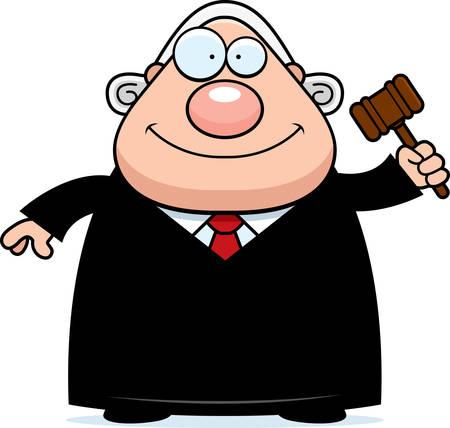 A cartoon illustration of a judge holding a gavel. Banco de Imagens - 44502916