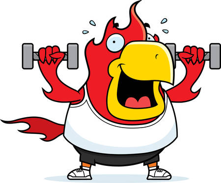 A cartoon illustration of a phoenix lifting dumbbell weights.