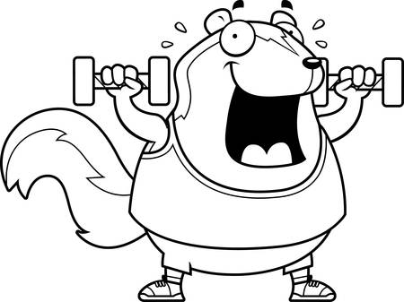 A cartoon illustration of a skunk lifting dumbbell weights. Illustration