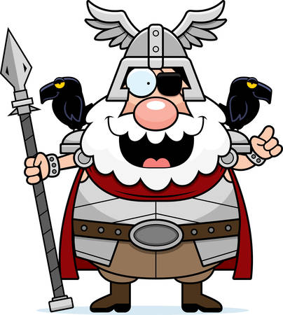 A cartoon illustration of Odin with an idea. Illustration