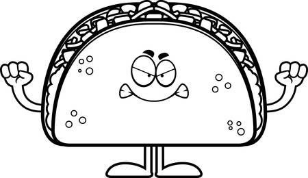 A cartoon illustration of a taco looking angry. Banco de Imagens - 44502703