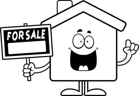 Een cartoon illustratie van een huis te koop met een idee.
