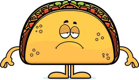 A cartoon illustration of a taco looking sad.