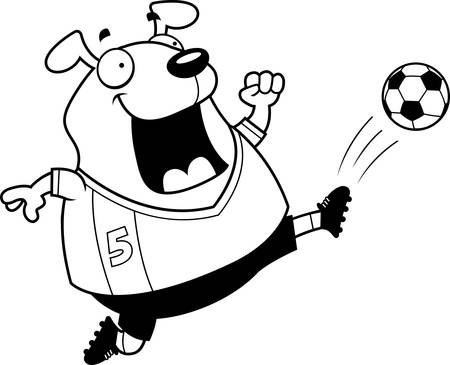 A cartoon illustration of a dog kicking a soccer ball.