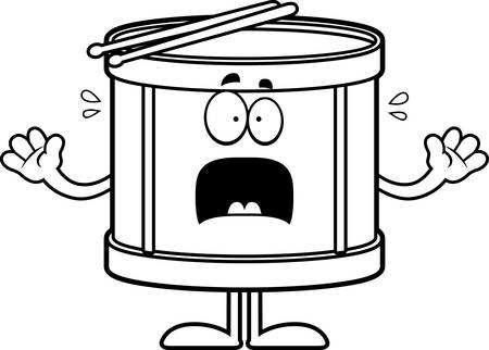 strikken: A cartoon illustration of a drum looking scared. Stock Illustratie
