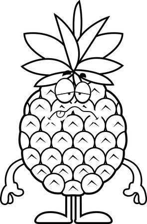 nauseous: A cartoon illustration of a pineapple looking sick.