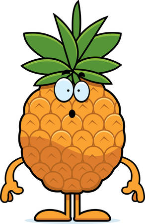 A cartoon illustration of a pineapple looking surprised. Фото со стока - 44502550