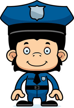 chimpanzee: A cartoon police officer chimpanzee smiling. Illustration