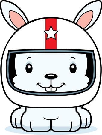car driver: A cartoon race car driver bunny smiling. Illustration