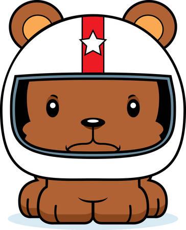 race car driver: A cartoon race car driver bear looking angry.
