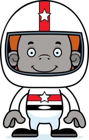 race car driver: A cartoon race car driver orangutan smiling. Illustration