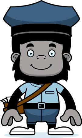 Een cartoon postbode gorilla glimlachen.