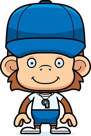 A cartoon coach monkey smiling.