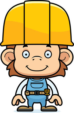 tool belt: A cartoon construction worker monkey smiling. Illustration