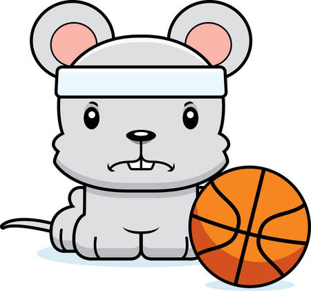 cartoon ball: A cartoon basketball player mouse looking angry. Illustration