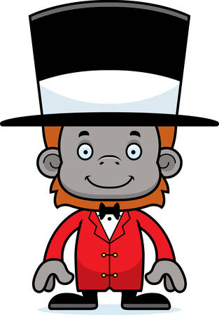 orangutan: A cartoon ringmaster orangutan smiling.