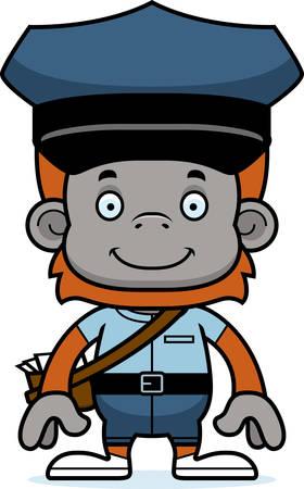 A cartoon mail carrier orangutan smiling. Ilustração
