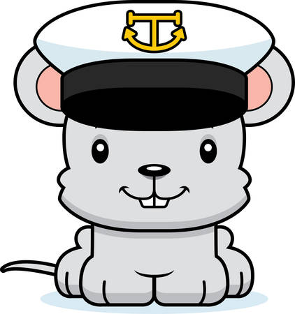 cartoon boat: A cartoon boat captain mouse smiling. Illustration