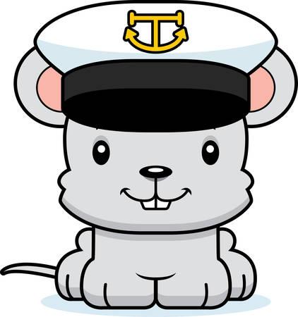 rata caricatura: Un capit�n del rat�n barco de dibujos animados sonriendo.