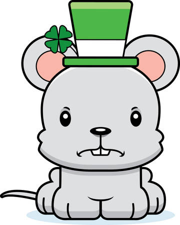 animal st  patricks day: A cartoon Irish mouse looking angry.