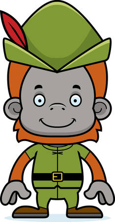 A cartoon Robin Hood orangutan smiling.