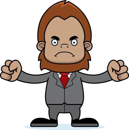 sasquatch: A cartoon businessperson sasquatch looking angry.
