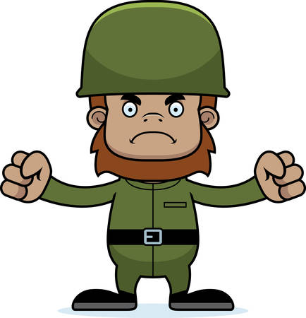 sasquatch: A cartoon soldier sasquatch looking angry.