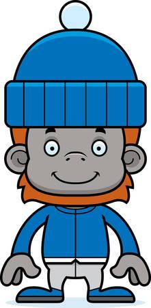 orangutan: A cartoon winter orangutan smiling.