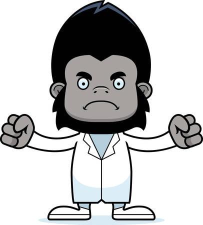 A cartoon doctor gorilla looking angry. Ilustração
