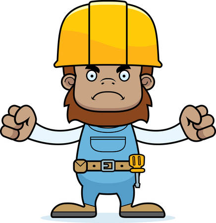 sasquatch: A cartoon construction worker sasquatch looking angry.